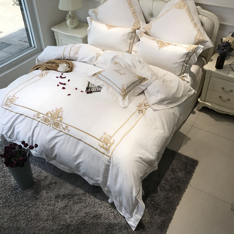 Egyptian Cotton Embroidered White Color Luxury Hotel Bedding Sets King  Queen Size Bed Set Bed Sheet Set Duvet Cover Pillow Sham In Bedding Sets  From Home ...