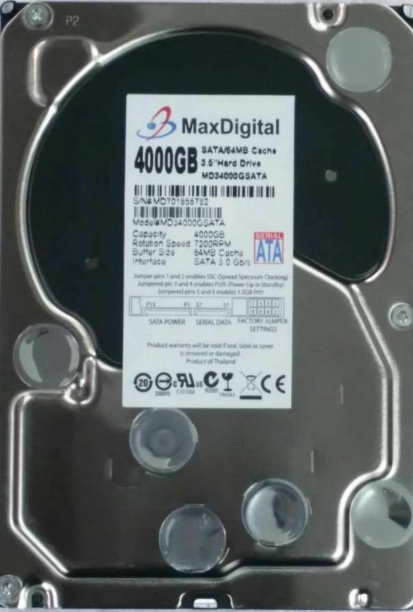 AVOLUSION MaxDigital 4000GB SATA 3.5inch Enterprise Grade Security CCTV Hard Drive Warranty for 1-year 395501 002 601452 001 mb0500cbepq 500 gb 7 2k sata 3 5inch 1 year warranty