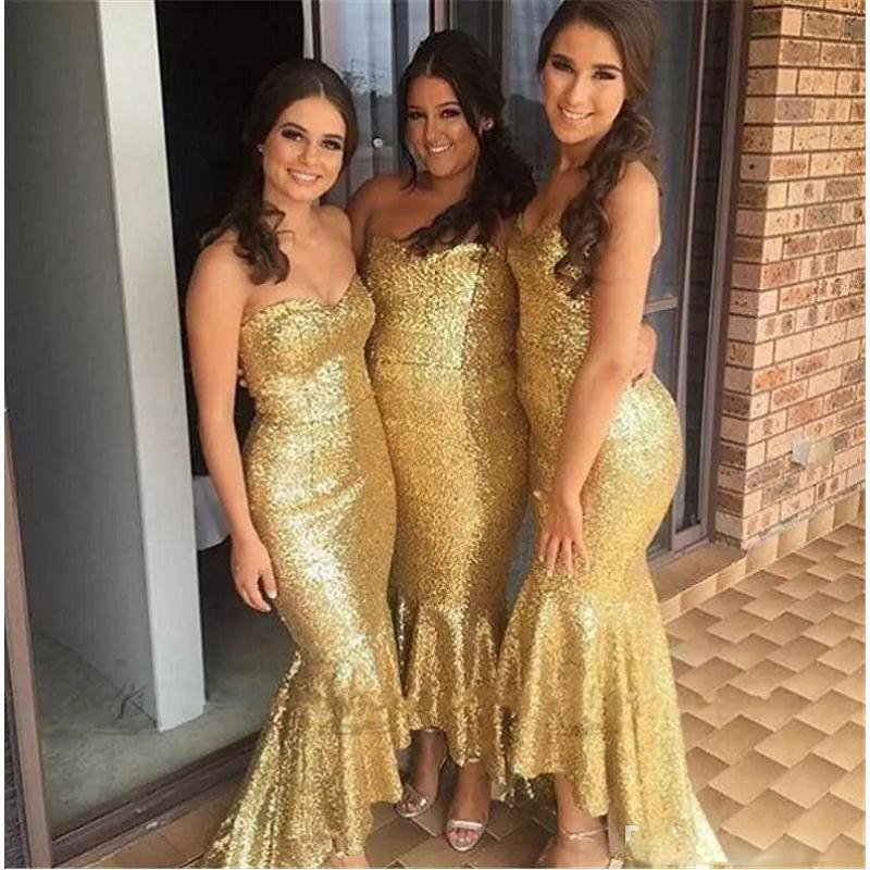 Gold Sequins Mermaid High Low   Bridesmaid     Dresses   Short Front Long Back Simple Country Wedding   Bridesmaid   Gowns Robes Custom Made