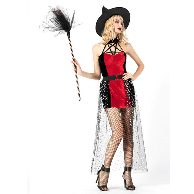 9191ef2d4 3 Pcs Evil Witch Custome Women Halloween Party Cosplay Witch Costumes  Carnival Costume Fancy Dress Halloween Costumes For Women