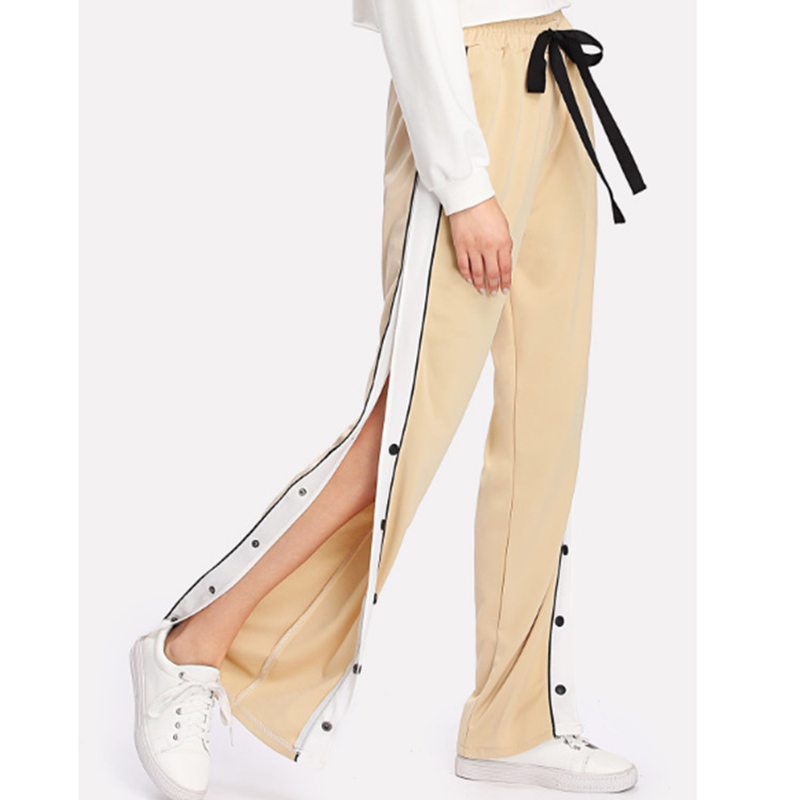 HOUZHOU Panelled Side-Stripe Loose   Wide     Leg     Pants   Sweat Casual Side Open Button Patchwork Long   Pants   Drawstring Cotton Trousers