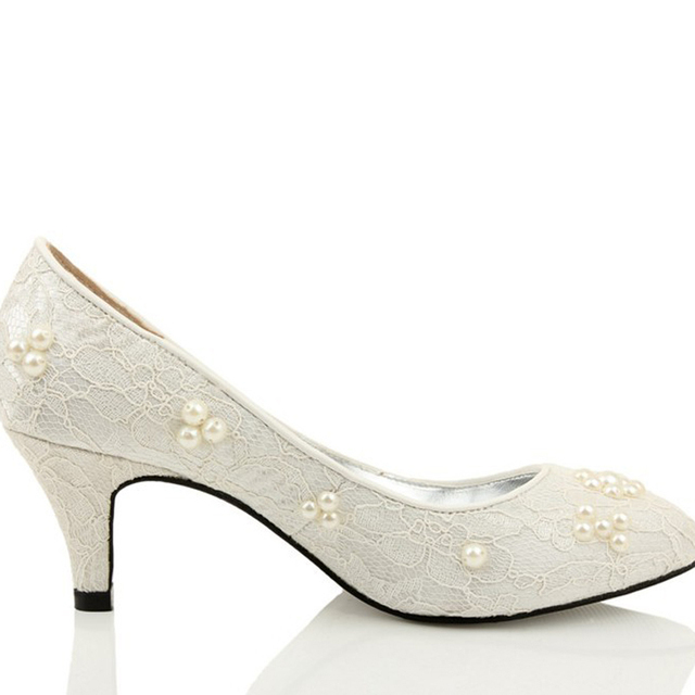Fashion Spring Ivory Low Heel Shoe Party Prom Nice Shoes Round Toe ...