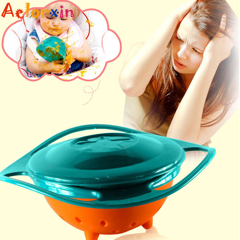 Baby  Feeding Universal Gyro Bowl Children Rotary Balance 360 Rotate Spill-Proof Solid Feeding Dishes Learning Dinnerware Bowls