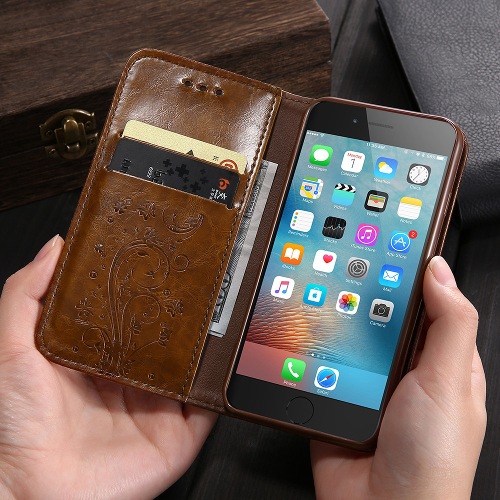 Wallet Flip Iphone 6 6 S Iphone 5 5S SE Leather Phone Bag Stand Cases For Iphone XS MAX XR X 8 7 6 6 S Cover