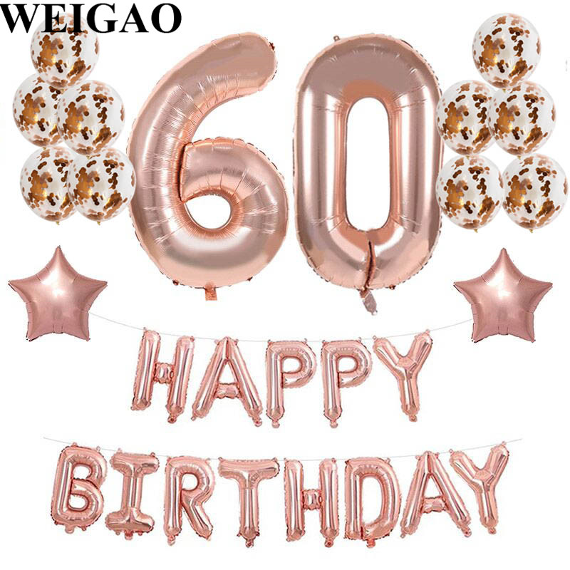 WEIGAO 60th Birthday 40inch Rose Gold Number Foil Balloons Adult Anniversary Happy Helium Event