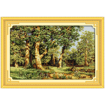 Quercia Foresta Modelli Contati Punto Croce 11CT 14CT Punto Croce Set Commercio All'ingrosso Paesaggio a punto Croce Kit di Ricamo Ricamo