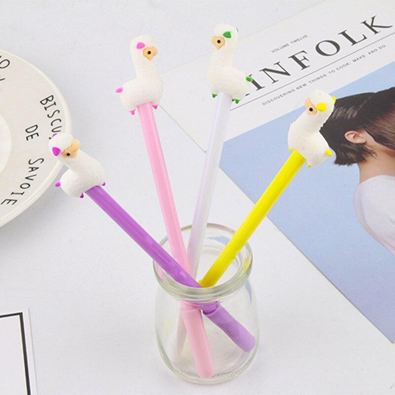20 Pcs Creative Stationery Alpaca Neutral Pen Cute Learning Office Black Water-based Signature Pen Cartoon Pen