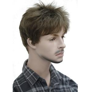 Image 1 - StrongBeauty męska peruka naturalne czarne/brązowe krótkie proste włosy syntetyczne pełne peruki 7 kolorów