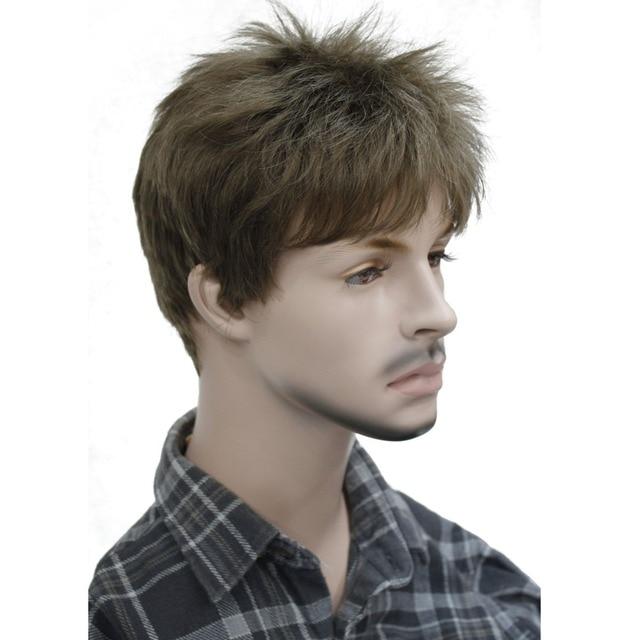 StrongBeauty męska peruka naturalne czarne/brązowe krótkie proste włosy syntetyczne pełne peruki 7 kolorów
