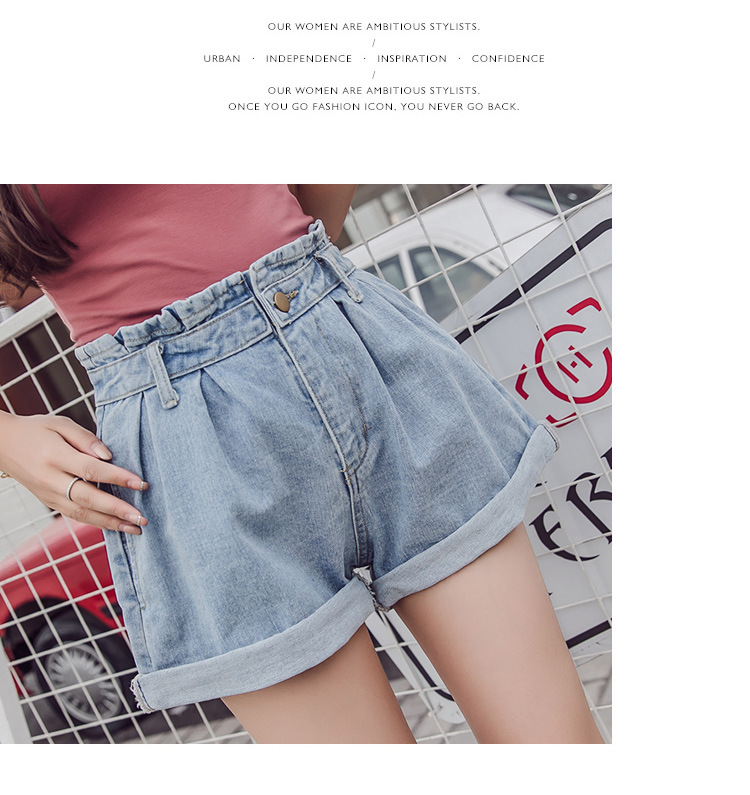 Summer 2019 New Jeans Shorts, High Waist, Slim, Wide Leg Pants, Korean Edition Student Hot Pants Tide Ins