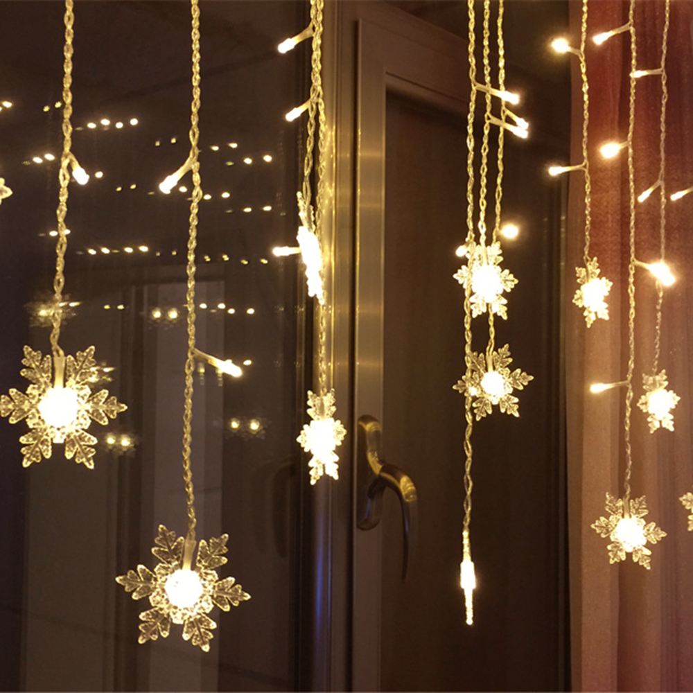 8M*0.5M 192 LEDs Curtain String Snowflake Garden Party Fairy Lights - Holiday Lighting