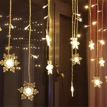 8M * 0.5M 192 светодиодов Занавес Стрижка Снежинка Garden Party Fairy Lights Christmas Outdoor Wedding Window Декоративный 220V EU Plug JQ
