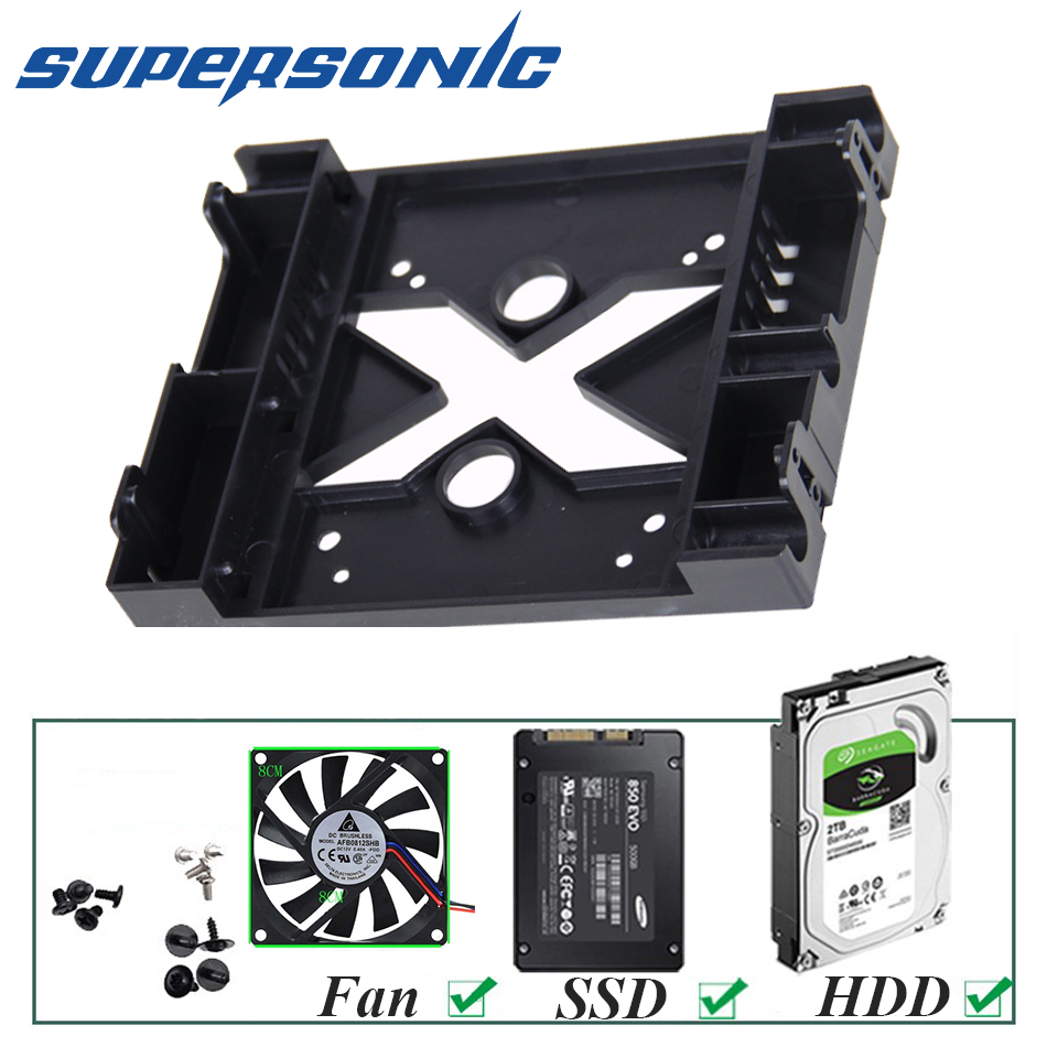 Supersonic 5.25 optical drive position to <font><b>3.5</b></font> inch 2.5 inch <font><b>SSD</b></font> 8CM FAN <font><b>Adapter</b></font> Bracket Dock Hard Drive Holder For PC Enclosure image