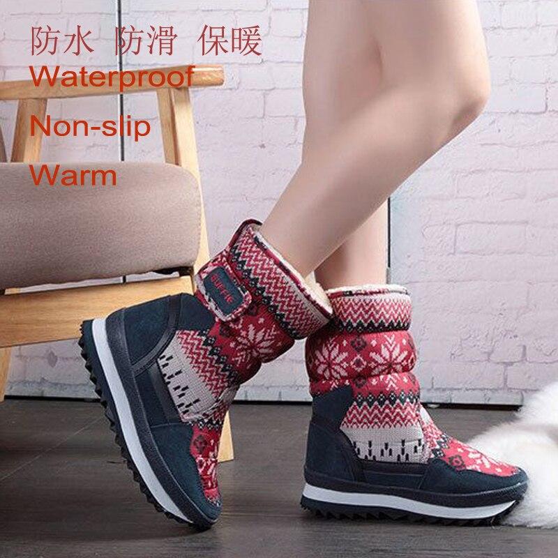 Caliente Peluche Zapatos 41 calf 27 Copo red Botas Invierno Prueba Mid Padre Tamaño Mujer De Grey Agua hijo Nieve Snowboots A O8qZzU