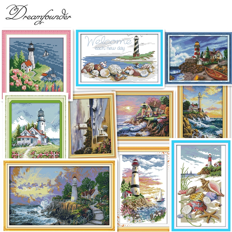 Lighthouse (4) Cross Stitch Kit Sea Side 14ct Count Printed Canvas 11ct Fabric X Stitching Embroidery DIY Handmade Needlework
