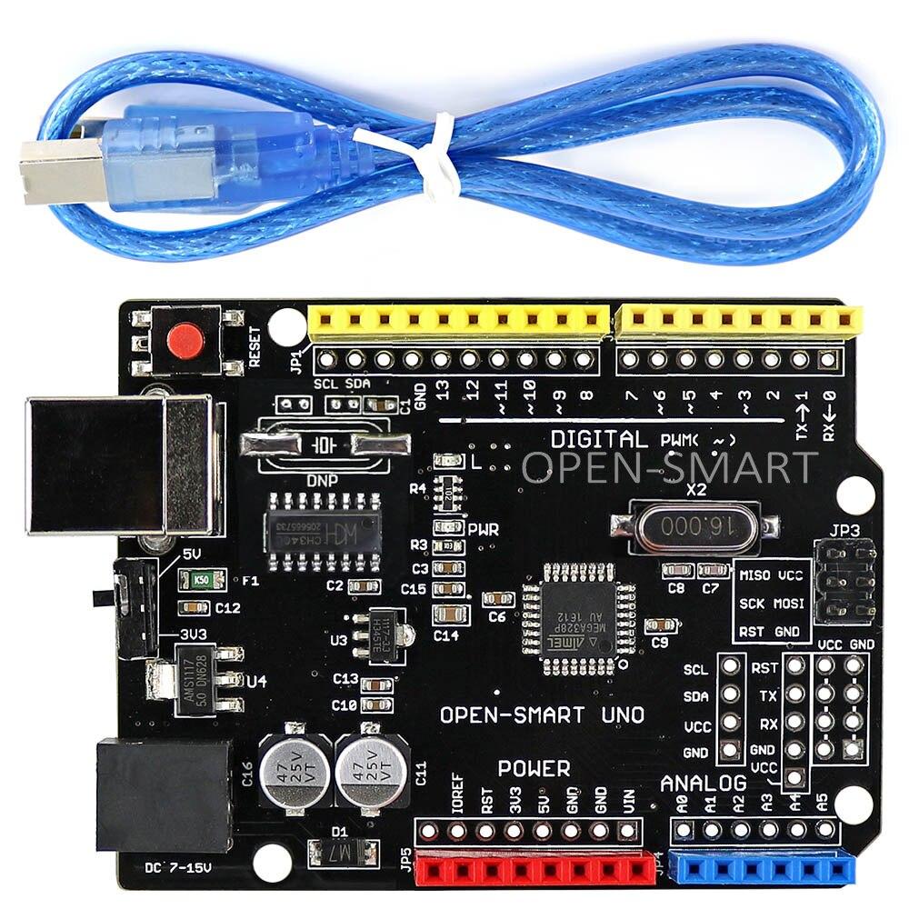 Плата разработки OPEN-SMART 5 В/3,3 В, совместимая с UNO R3 (CH340G) ATMEGA328P, с usb-кабелем для Arduino UNO R3