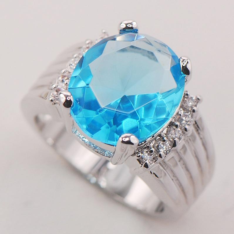 Blue Crystal Zircon Fashion Women 925 Sterling Silver Ring