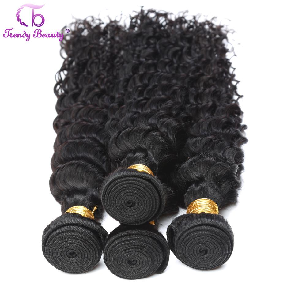 Trendy Beauty Hair Peruvian Deep Curly Non Remy 100% Human Hair Weave Bundles 4Pcs a Deal 8-30 Inches Natural Color No Shedding