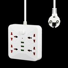 Akıllı USB güç şeridi soket ab tak adaptörü 4 çıkış 3 Port USB şarj aleti güç çıkışı 2M Powextension soket ağ filtresi