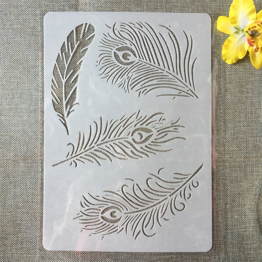 1Pcs A4 Peacock Feather DIY Craft Layering Stencils Painting Scrapbooking Stamping Embossing Album Paper Card Template