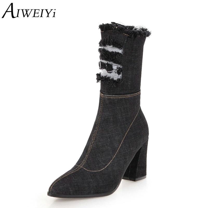 AIWEIYi bottines en Denim pour femmes côté Zip bottes de moto bout pointu talon carré talons hauts bottes d'hiver chaussures en peluche courtes