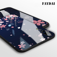 FAYDAI Tempered Glass Case For Huawei P20 Pro TPU Silicone Sakura Pattern Phone Cases Cover For