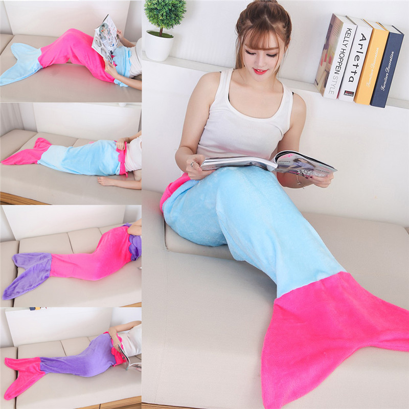 Quilt fleece Mermaid blanket For Bed tail throw plush plaid On sofa Bed fluffy bedspreads knitted