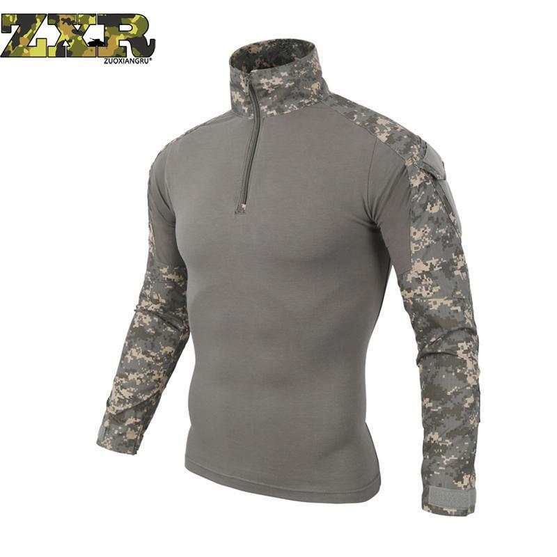 Men Long Sleeve Army T-Shirts Outdoor Hiking Military Soldiers Combat Tactical Men Gear Camouflage Force Shirt Shooting Hunting men military tactical outdoor shirts 100% cotton breathable long sleeve shirt army multi pockets swat shooting urban sports