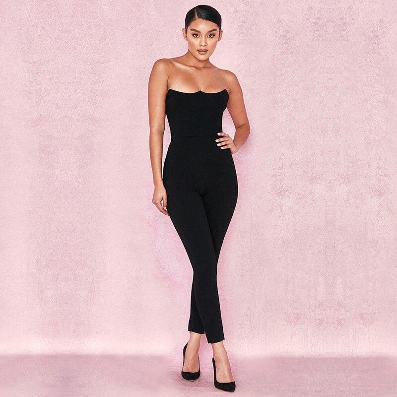 De Soirée Mode Date Parti Été Club Bandage Moulante 2018 Noir Sans Sexy Manches Bretelles Femmes Salopette aCR1wcT4q