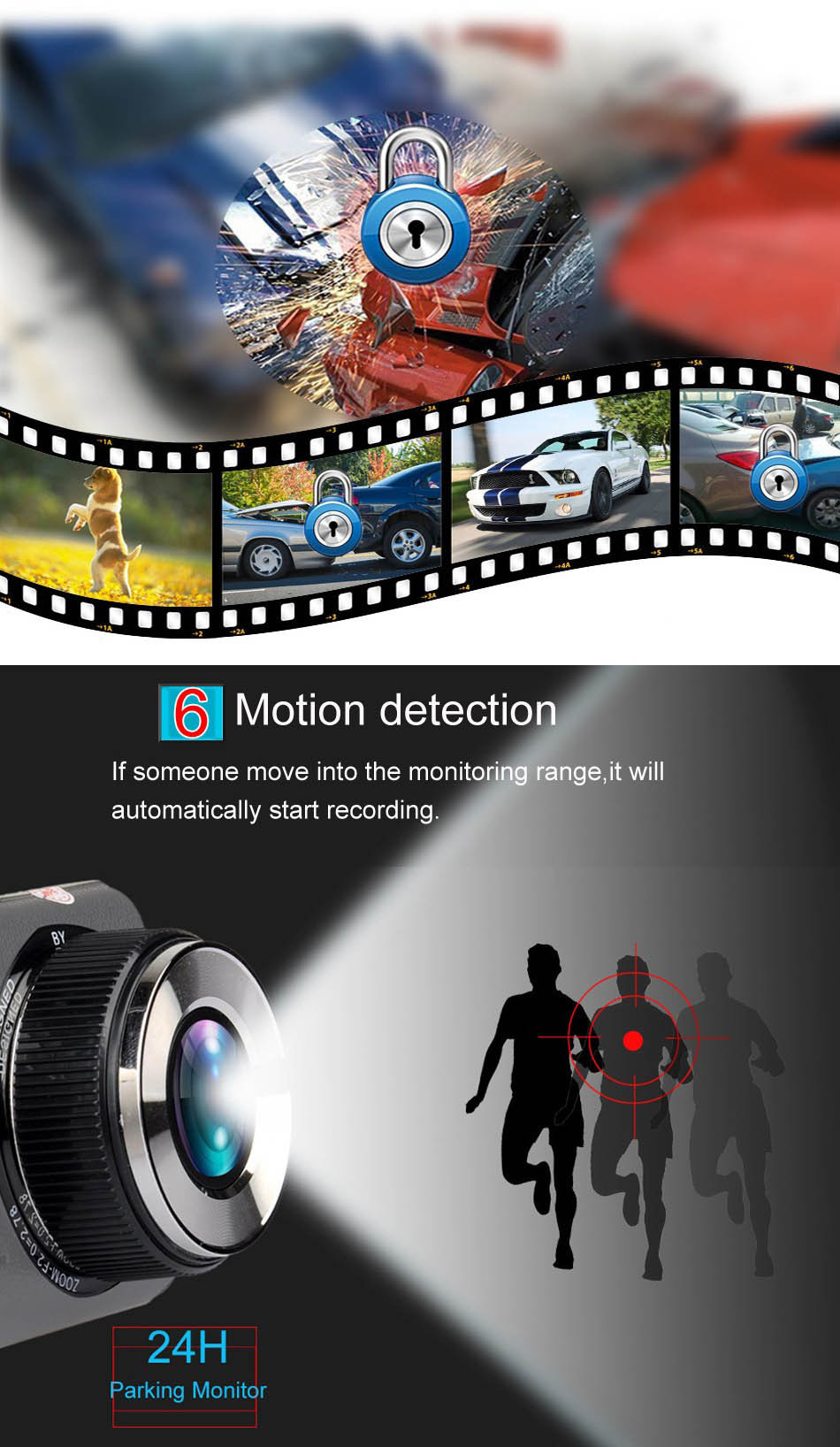 Mini Car DVR H801B With Rear View Camera Dual Lens Dash Cam 4 Inch Full HD 1080P+720P WDR Video Recorder Portable Camcorders-8