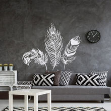 Bulu Dinding Decal Decor-Feathers Vinyl Dinding Sticcker-Tribal Boho Bohemian Bedroom Decor Feather Wall Art Mural LR39(China)