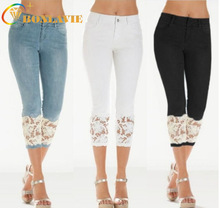 Summer Women Jeans Calf-length Pants Lace Stitching White Black Blue Color Mid-length Bleached Ripped Jeans for Women Plus Size cheap COTTON Light Medium DARK Bleach Wash Chemical Wash Zipper Fly Hollow Out Softener skinny Pencil Pants Casual SYLY233 White black blue
