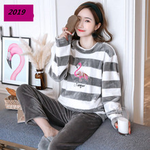 Women Pajamas Set Sexy Flamingo Embroidery Flannel Pyjamas 2019 Spring Top Fashion Home Sleepwear 2 Piece/Set