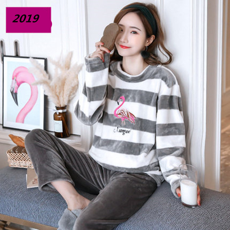Women   Pajamas     Set   Sexy Flamingo Embroidery Sexy Flannel Pyjamas 2019 Spring Top Fashion Home Sleepwear 2 Piece/  Set