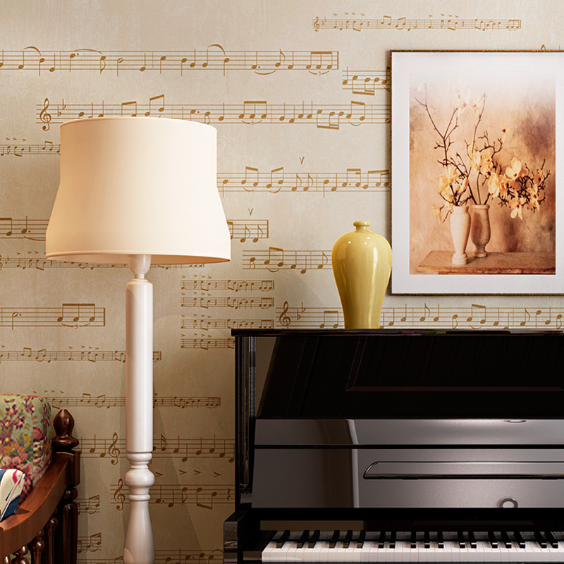 beibehang American Village Retro Music Music Wallpaper Non - woven Wallpapers Living Room Bedroom Piano Room Background Wall beibehang delicate flocking environmentally friendly non woven wallpapers living room bedroom wall papers home decor wallpaper