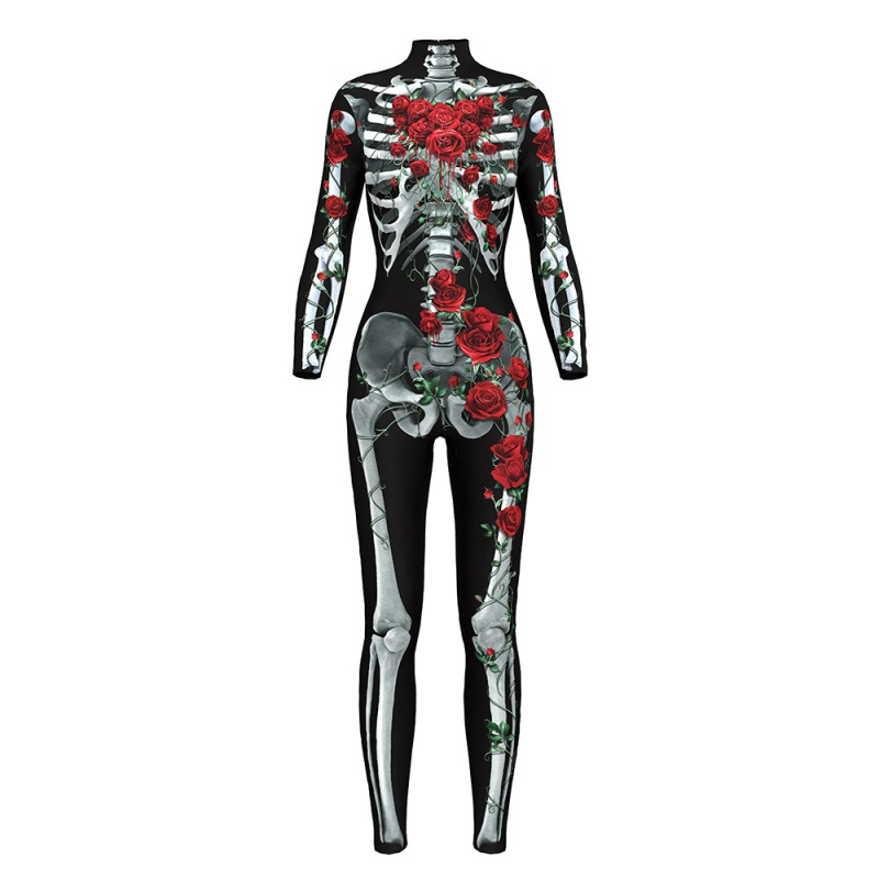 <font><b>2018</b></font> <font><b>Halloween</b></font> Skeleton Print Scary Horror Costume Play suit Barbed Rose Lange <font><b>Sexy</b></font> Strech Black Cosplay Jumpsuit Bodysuit F2 image