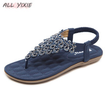ALL YIXIE 2019 summer new fashion leather ladies sandals and slippers national bohemian flat sandals slippers casual sandals цены онлайн