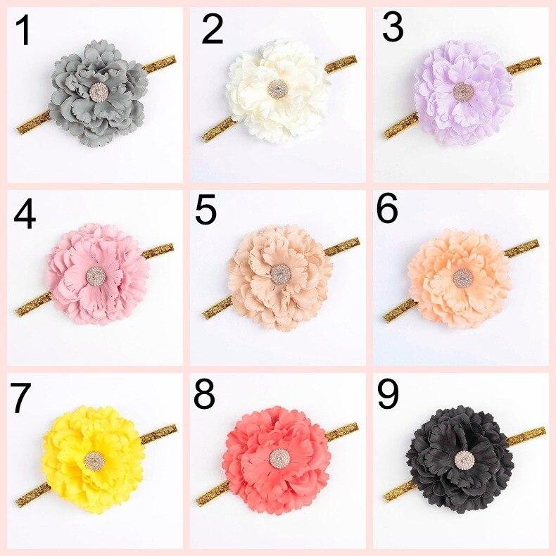 ୧ʕ ʔ୨2016 Nuevo 10 unids/lote flor con aleación botón diadema ...