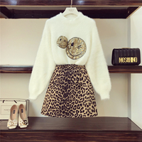 Fall Winter Fashion Leopard Skirts Set 2018 New Women's Cartoon Smiling Face Sequined Sweater + Wool Skirt Two piece Set Student