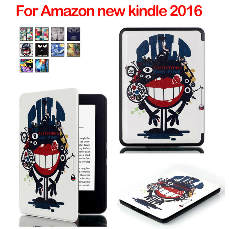 New kindle 2016 Flip PU Leather Case Cover E-book Ebook Smart Protective Stand Shell For Amazon new kindle 2016 Auto Sleep Cases case cover for kindle paperwhite 123 ebook pu leather folio flip smart sleep wake up protective case cover vintage texture