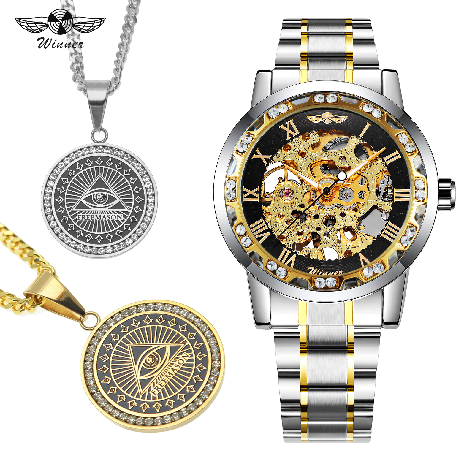 WINNER Fashion Mechanical Watch Men Top Brand Luxury Steel Strap Hip Hop Punk Jewelry Set + EYE Creative NecklaceWINNER Fashion Mechanical Watch Men Top Brand Luxury Steel Strap Hip Hop Punk Jewelry Set + EYE Creative Necklace