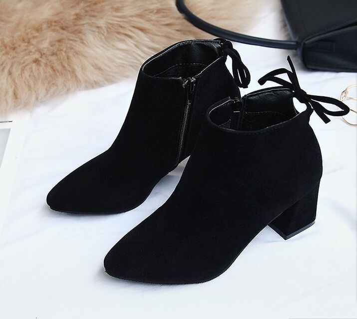 2019 ใหม่ผู้หญิงใหม่เซ็กซี่ข้อเท้ารองเท้าบู๊ทส้นสูงส้นสูง Slip On Solid Toe สุภาพสตรีรองเท้าสบาย