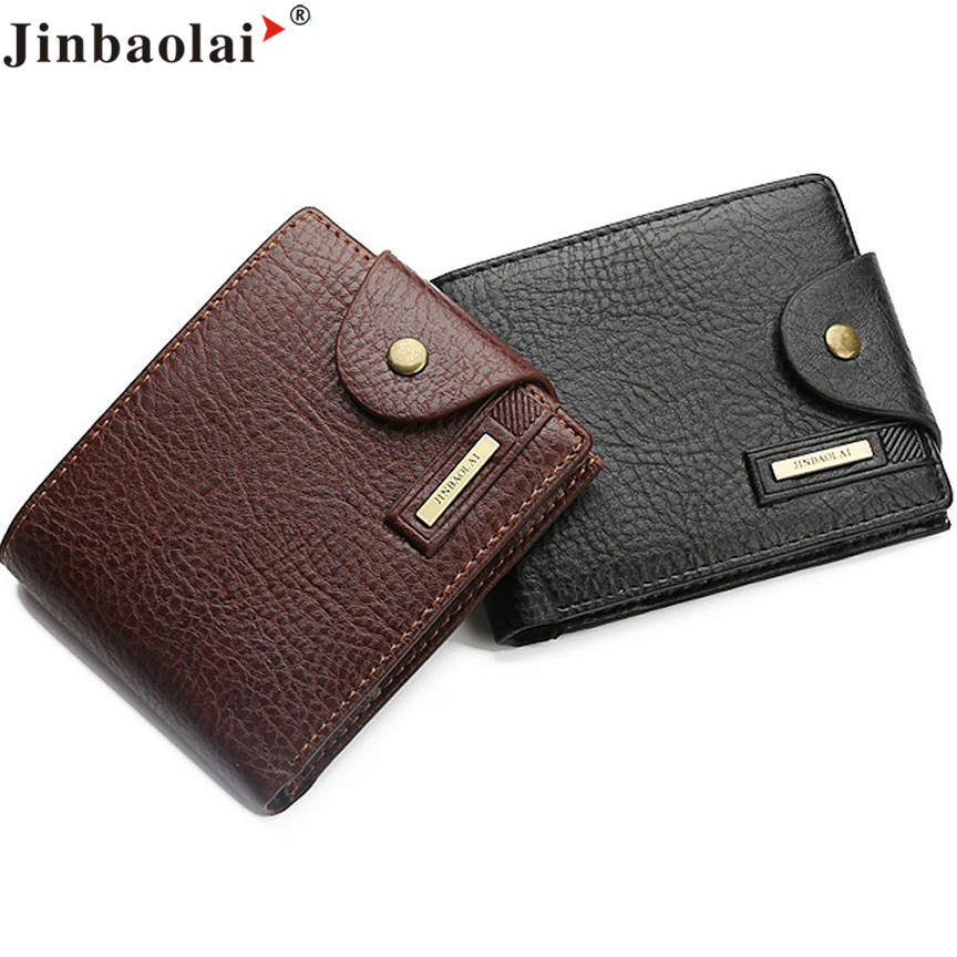 Naivety 2016 New JINBAOLAI PU Leather Bifold Short Wallet Men Portable Credit/ID Card Billfold Purse Monedero 11S60930