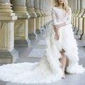 RSW1101 Vestido Де Novia Fotos Реалов Роскошный Длинный Хвост Высокая Низкая Перо Свадебное Платье