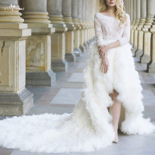rsw1101 vestido de novia fotos reales luxury long tail high low