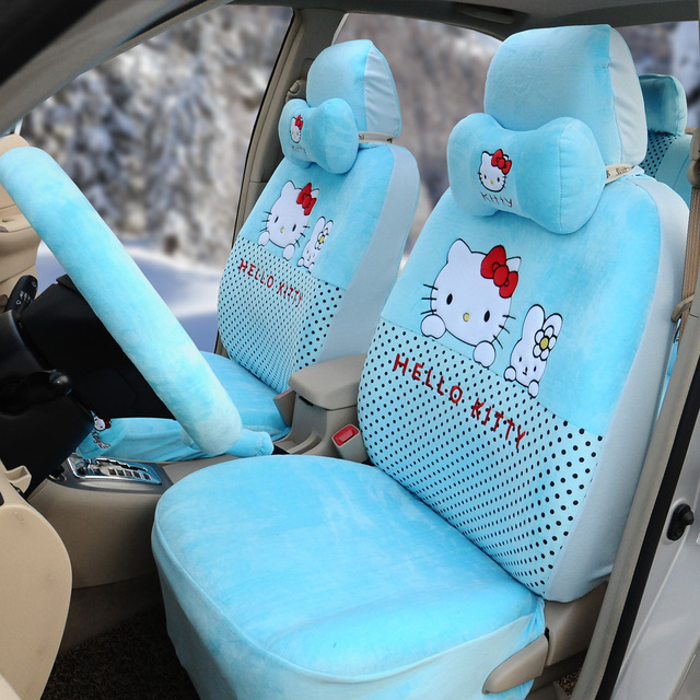 Hello Kitty 1sets Soft Plush Light Blue Cool Cartoon Front Rear Seat Covers Car