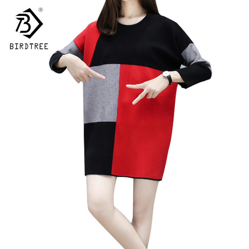 Plus Size 4XL Women's Long Sleeves Sweater Dress 2018 Spring Fashion Female O-Neck Plaid Knitted Spring Mini Dresses Hot D82317A long sleeves layered swing sweater dress