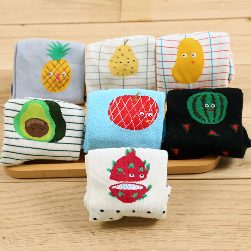 Women Men Kawaii Avocado Pineapple Fruit Pitaya Socks Female Creative Watermelon Kiwi Pear Apple Cotton Short Socks