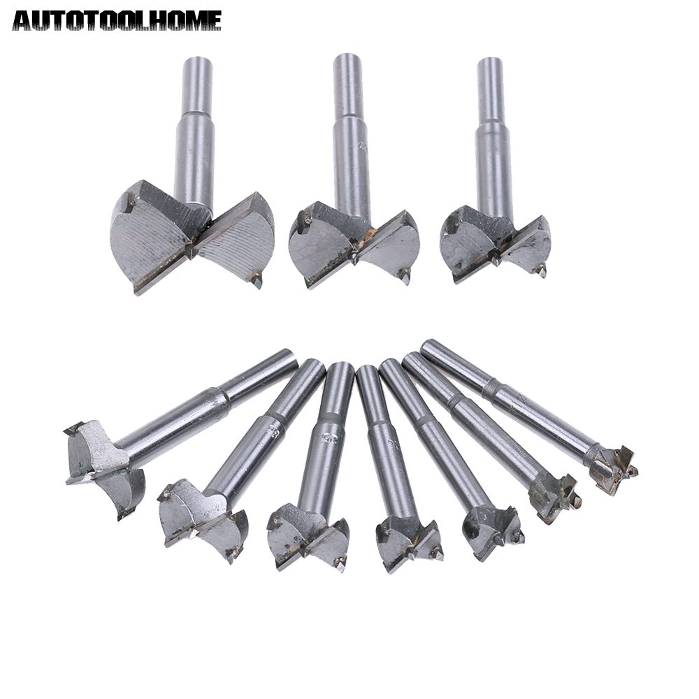 AUTOTOOLHOME 10PC 14-50mm Forstner Auger Drill Bit Set Wood Drilling Woodworking Hinge Hole Saw Window Wooden Cutting Tool 38mm 100mm diameter hinge boring bit woodworking silver tone round shank wood drilling forstner carbide tip cutting wood tool