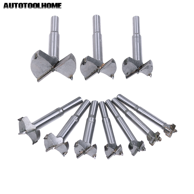 Wood Drilling Woodworking Hinge Hole Saw Window Wooden Cutting Tool AUTOTOOLHOME 10PC 14-50mm Forstner Auger Drill Bit Set
